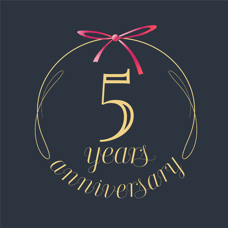 5 years anniversary celebration vector icon. Template design element with golden number and red bow for 5th anniversary greeting card