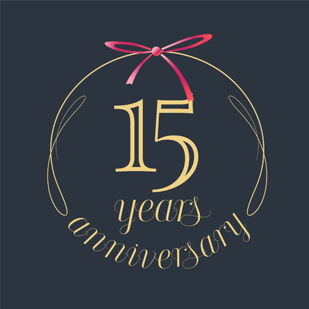 15 years anniversary celebration vector icon, logo. Template design element with golden number and red bow for 15th anniversary greeting card. Illustration