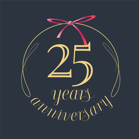 25 years anniversary celebration vector icon, logo. Template design element with golden number and red bow for 25th anniversary greeting card