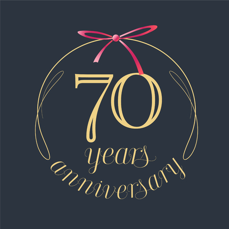 70 years anniversary celebration vector icon, logo. Template design element with golden number and red bow for 70th anniversary greeting card