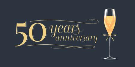 50 jaar verjaardag pictogram. Grafisch ontwerpelement, banner met gouden belettering en glas champagne voor 50ste verjaardag achtergrond Stock Illustratie
