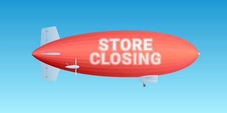 Store closing vector illustration. Template banner, flyer with blimp on background and store closing sign for clearance sale from stock Illustration