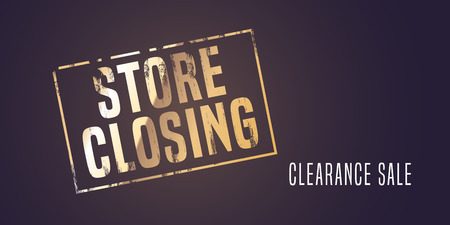 Store closing vector illustration, background with post stamp. Template banner, flyer for clearance sale