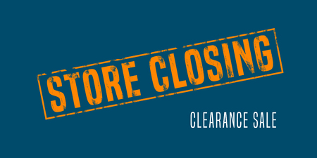 Store closing illustration, background with post stamp. Banner, flyer for clearance sale or special prices in the shop Illustration