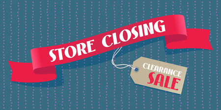 Store closing sale vector illustration, background with red ribbon and price tag. Illustration