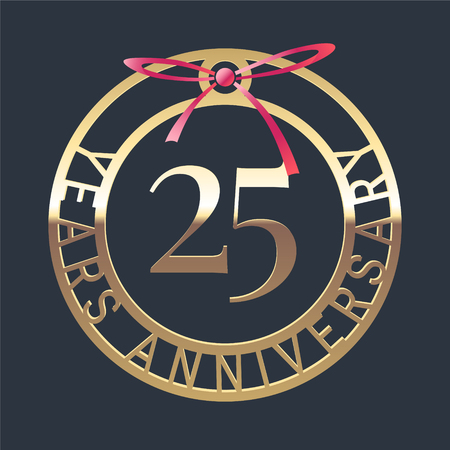 25 years anniversary vector icon, symbol. Graphic design element or logo with golden medal and red ribbon for 25th anniversary
