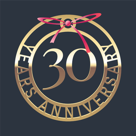 30 years anniversary vector icon, symbol. Graphic design element or logo with golden medal and red ribbon for 30th anniversary Illustration