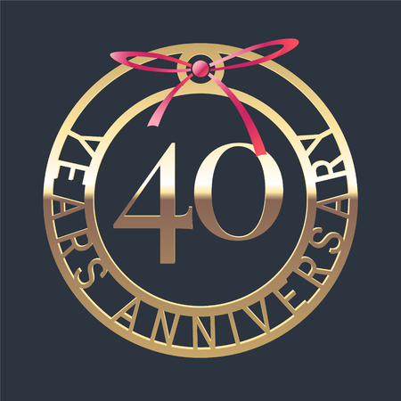 40 years anniversary vector icon, symbol. Graphic design element or logo with golden medal and red ribbon for 40th anniversary