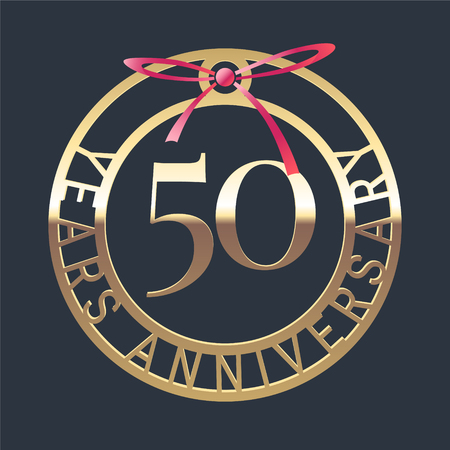 50 years anniversary vector icon, symbol. Graphic design element or logo with golden medal and red ribbon for 50th anniversary