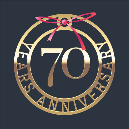 70 years anniversary vector icon, symbol. Graphic design element or logo with golden medal and red ribbon for 70th anniversary