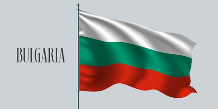 Bulgaria waving flag on flagpole vector illustration. Three colors elements of Bulgarian wavy realistic flag as a symbol of country