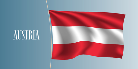 two: Austria waving flag vector illustration. Two colors flag as a national Austrian symbol Illustration