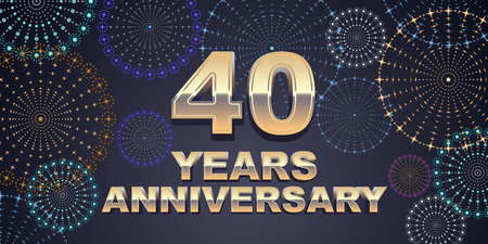 40 years anniversary vector icon, logo. Graphic design element with golden 3D numbers for 40th anniversary decoration
