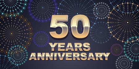 50 年周年記念ベクトルのアイコン、ロゴ。50 周年記念装飾のための黄金の 3 D 番号を持つグラフィック デザイン要素 写真素材 - 86958580