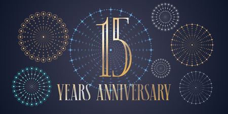 15 years anniversary vector icon, logo. Template design, banner with fireworks for 15th anniversary greeting card, can be used as decoration element Stok Fotoğraf - 86958594