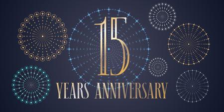 Icône de vecteur de 15 ans anniversaire, logo. Modèle de conception, bannière avec feux d'artifice pour carte de voeux de 15e anniversaire, peut être utilisé comme élément de décoration Banque d'images - 86958594