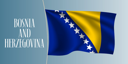 Bosnia and Herzegovina waving flag vector illustration. Stars on blue as a national Bosnian symbol