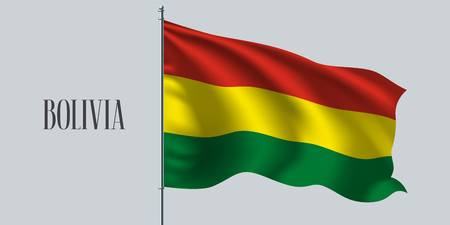 Bolivia waving flag vector illustration. Triple stripped flag as a national Bolivian symbol