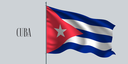 Cuba waving flag vector illustration. Red, blue, white design as a national Cuban symbol