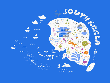 Hand drawn country map of Korea vector illustration, design. Doodle icons with South Korean landmarks, elements. Travel to South Korea concept image in sketch cartoon style