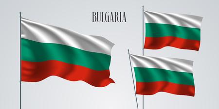 Bulgaria waving flag set of vector illustration.
