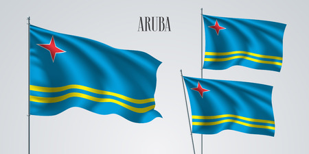 Aruba waving flag set of vector illustration.