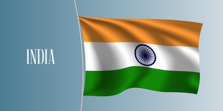 India waving flag vector illustration. Orange white green elements as a national Indian symbol