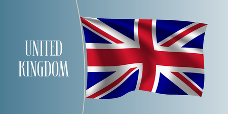 United Kingdom of Great Britain waving flag vector illustration. Red white blue elements as a national UK symbol
