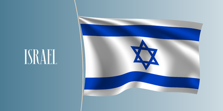Israel waving flag vector illustration. Blue white and star as a national Israeli symbol