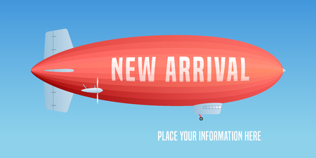 New arrival vector illustration, banner. Template design element with retro aircraft for new collection in store soon
