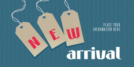 Nueva ilustración de vector de llegada, banner. Elemento de diseño con etiquetas de precio y novedad para promo comercial con nueva colección llegando pronto