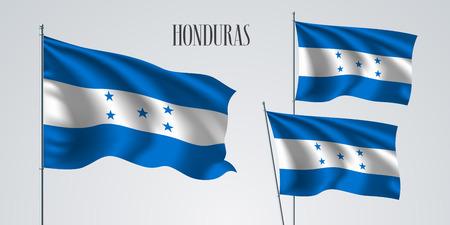 Honduras waving flag set of vector illustration. Blue white colors of Honduras wavy realistic flag as a patriotic symbol