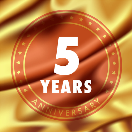 5 years anniversary vector icon, logo. Template design element with golden medal in silk for 5th anniversary greeting card, can be used as decoration element Illustration