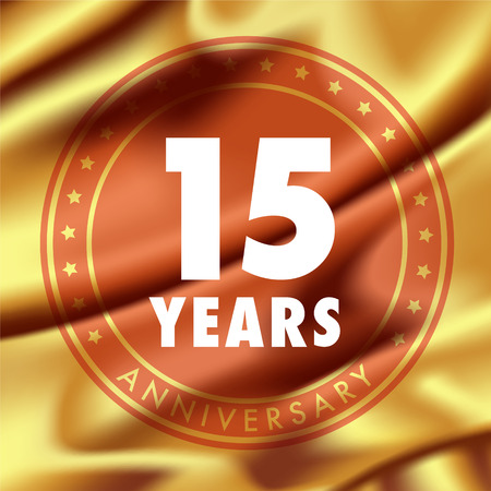 fifteen year old: 15 years anniversary vector icon,.