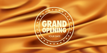 Grand opening vector illustration, poster. Template banner with graphic pattern and sign for opening event Illustration