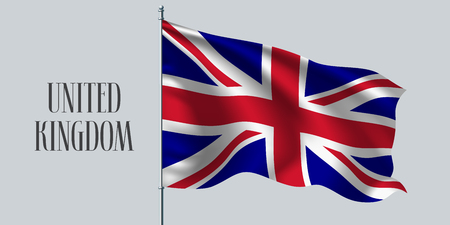 United Kingdom of Great Britain waving flag on flagpole vector illustration. Three colors element of British wavy realistic flag as a symbol of country