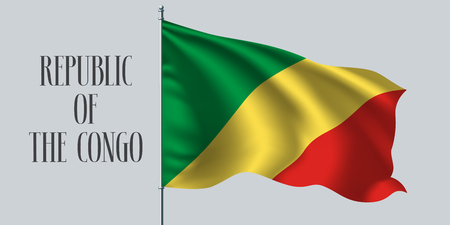 Republic of Congo waving flag on flagpole vector illustration. Three colors element of Congo wavy realistic flag as a symbol of country