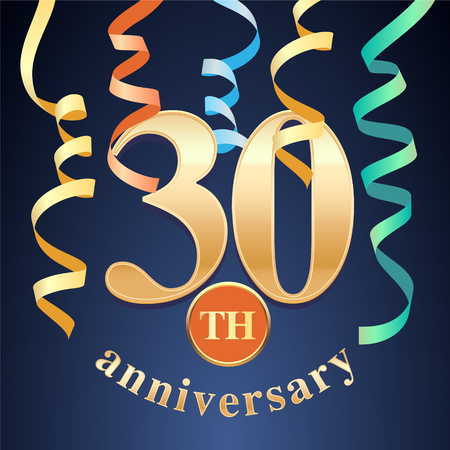 30 years anniversary celebration vector icon. Template design element with golden number and spiral garlands for 30th anniversary greeting card