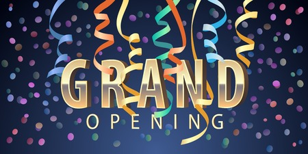 Grand opening Golden sign and spiral garlands design