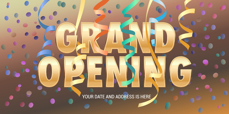 Grand opening vector banner with paper garlands. Illustration
