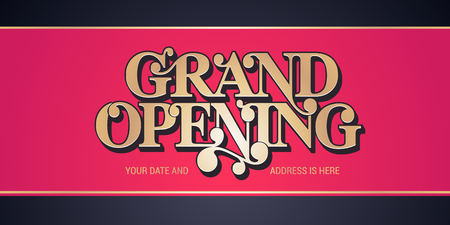 Grand opening vector background. Red ribbon cutting ceremony background design with gold color sign for or banner for opening event Illustration