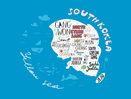 Hand drawn country map of Korea vector illustration, design poster. Art background with names of South Korean regions in unique freehand lettering style