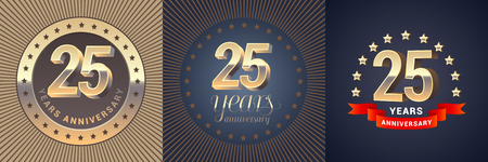 25 years anniversary vector icon, logo set. Graphic design element with golden 3D numbers for 25th anniversary decoration
