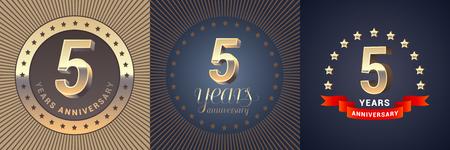 5 años aniversario vector icono, conjunto de logotipo. Elemento de diseño gráfico con números dorados en 3D para la decoración del 5to aniversario.