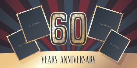 60 years anniversary vector icon, logo. Template design element, greeting card with collage of photo frames and gold color number for 60th anniversary. Can be used as background or banner Stock Illustratie