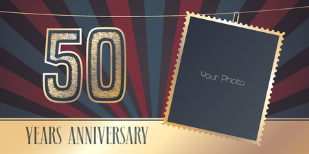 50 years anniversary emblem, logo temaplate in vintage style.