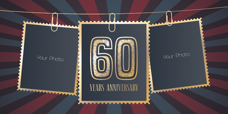 60 years anniversary vector emblem, logo. Template design element, greeting card with collage of empty photo frames on festive background for 60th anniversary Stock Illustratie
