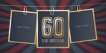 Emblème de vecteur anniversaire 60 ans, logo. Élément de conception de modèle, carte de voeux avec collage de cadres vides sur fond de fête pour le 60e anniversaire Banque d'images - 89989283
