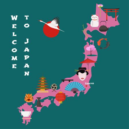 Map of Japan vector illustration, design. Icons with Japanese landmarks, sun, gate, temple. Explore Japan concept image Illustration