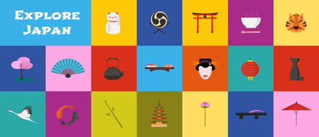 Set of icons with japan landmarks in vector temple, geisha, sushi, chopsticks symbols as visit japan design elements